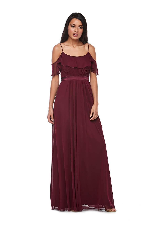 High twist chiffon off the shoulder flounced dress