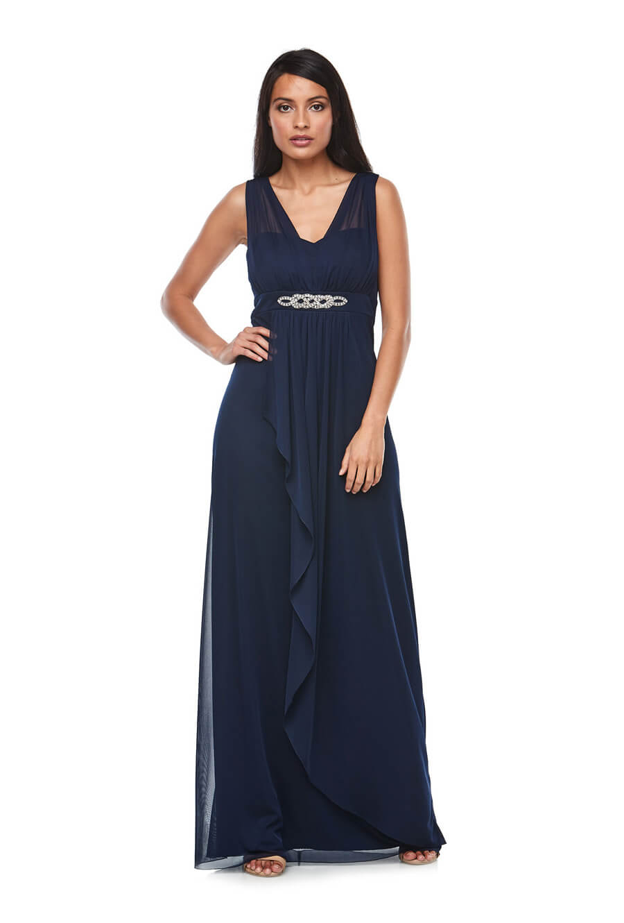 Stretch chiffon dress with waterfall front overlay skirt & diamanté trim