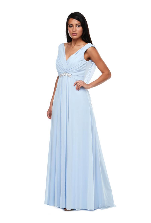 Stretch chiffon bridesmaids dress with diamanté trim
