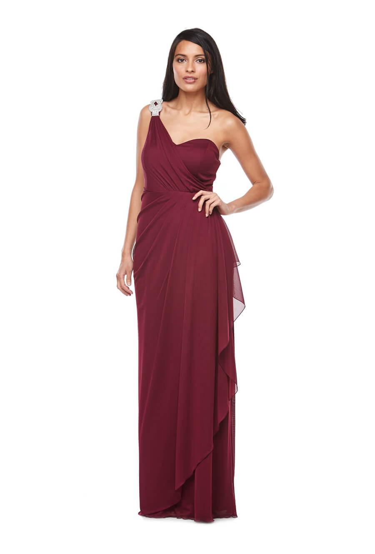 One shoulder stretch chiffon wrap front bridesmaids dress with shoulder trim