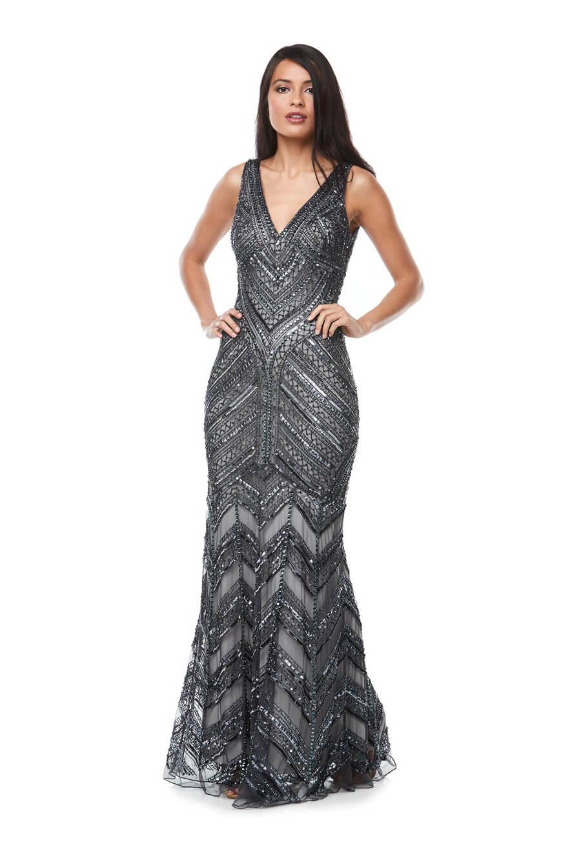 Long beaded bridesmaids dress with V neckline & fishtail skirt