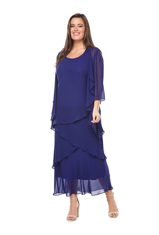 Layered chiffon cocktail dress with 3/4 sleeve