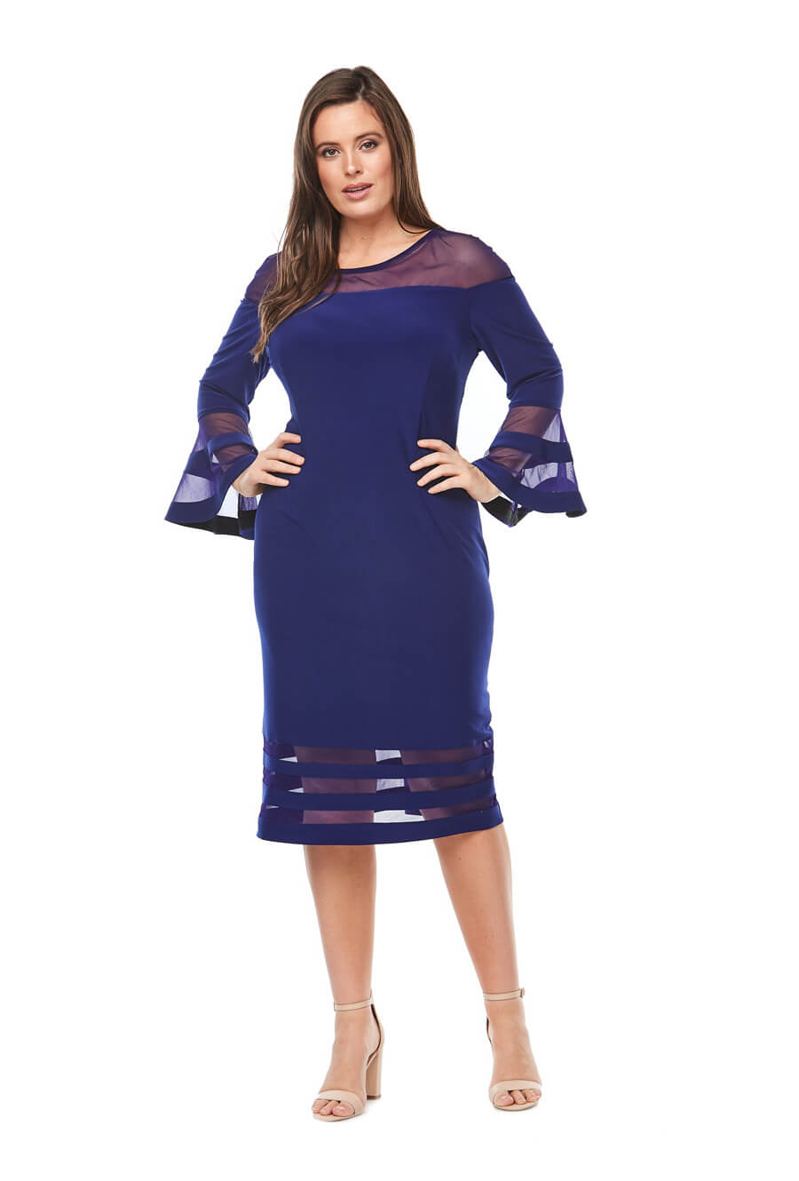 Stretch jersey cocktail dress with long bell sleeves & sheer panel detail