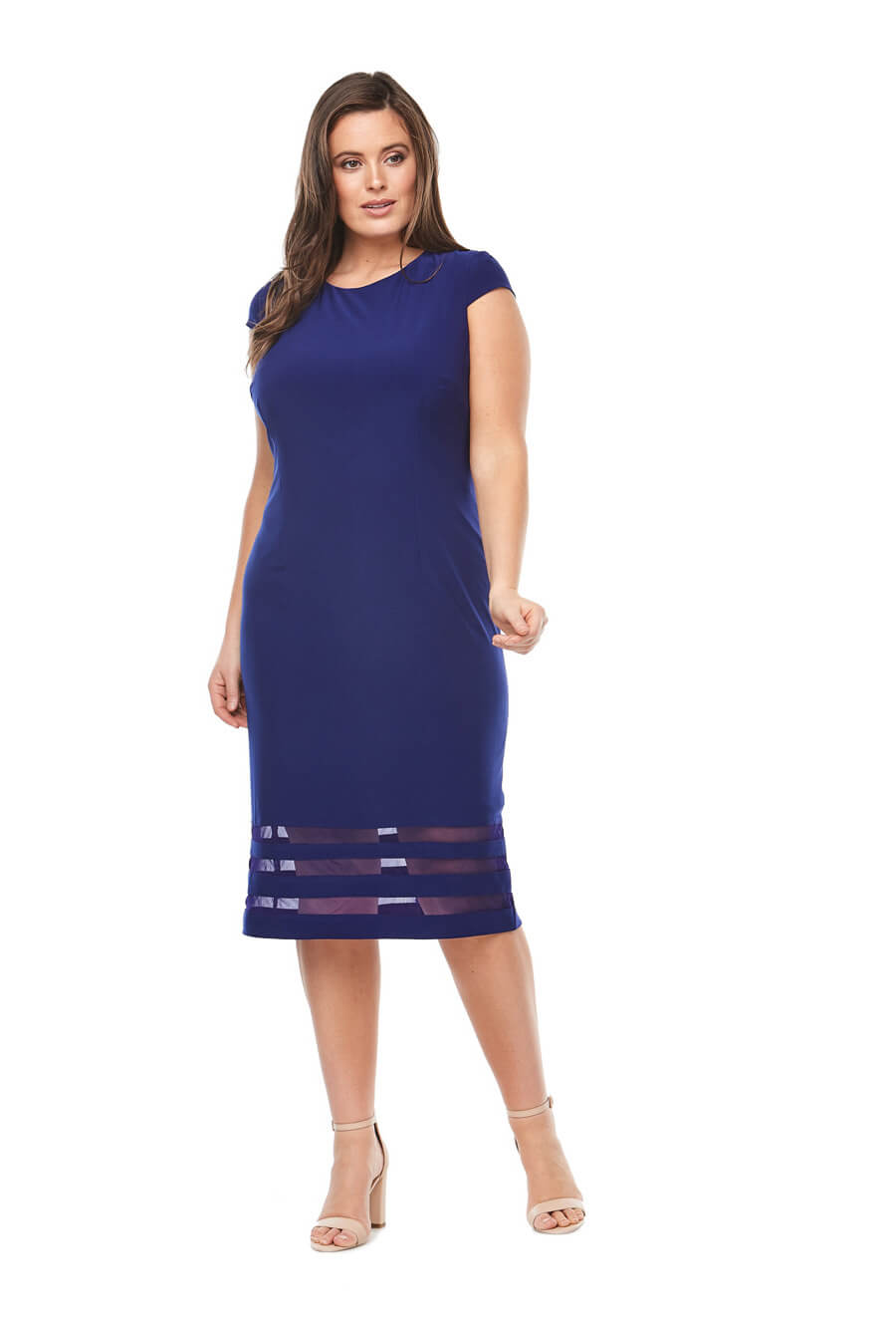Stretch jersey cocktail dress with cap sleeves, sheer panel detail & matching jacket