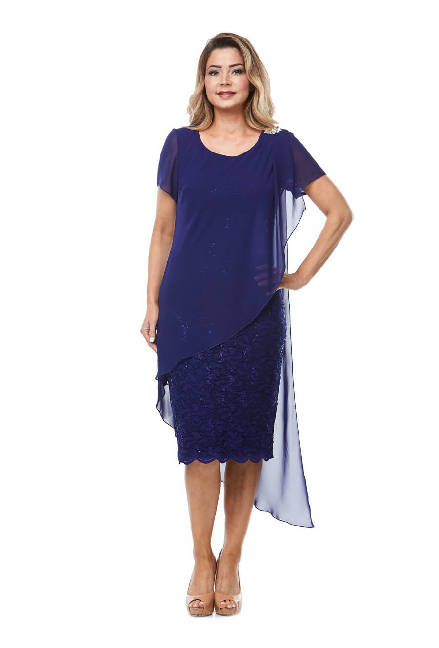 Stretch embroidered sequin cocktaildress with scallop hemline & asymmetrical chiffon overlay