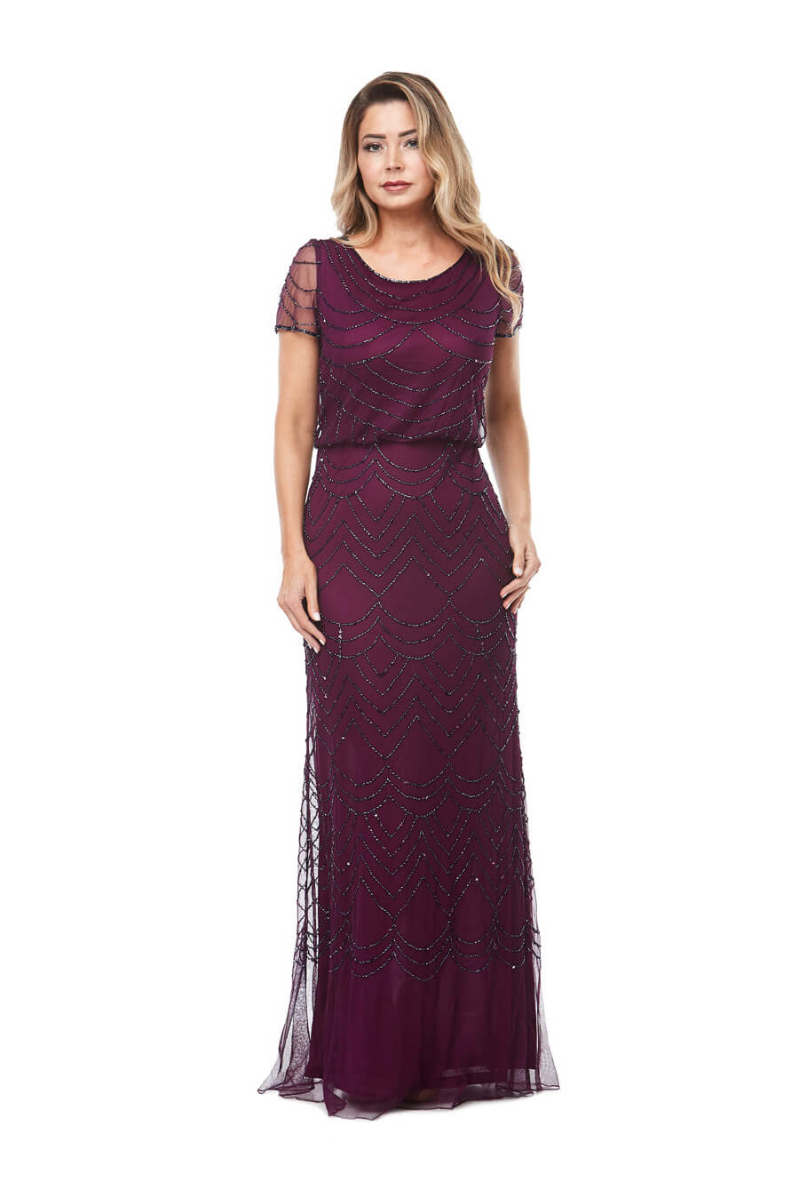 Long beaded chiffon dress with short sleeves & gathered waistline