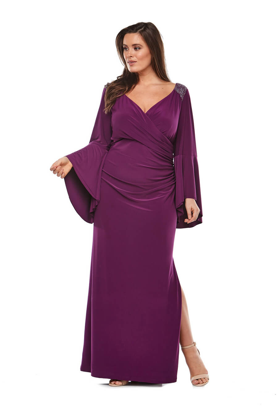 Stretch jersey wrap dress with long bell sleeves & beaded detailing