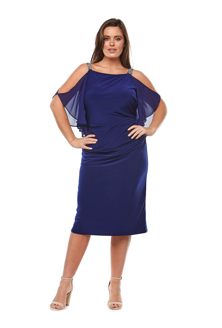 Stretch jersey cocktail dress with chiffon cold-shoulder sleeves & beaded neckline trim