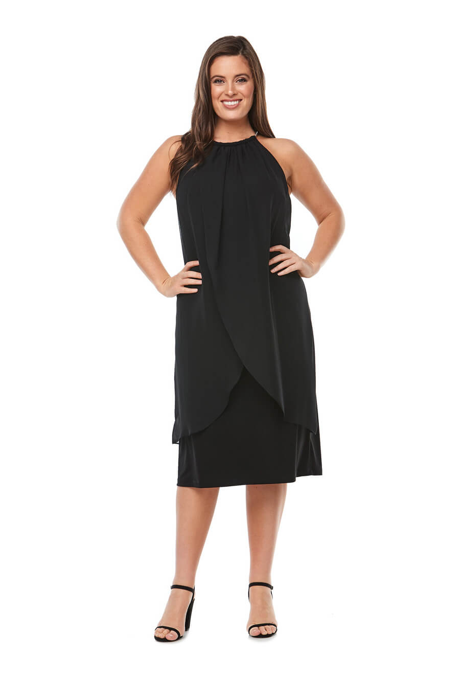layered chiffon cocktaildress with cut away sleeves