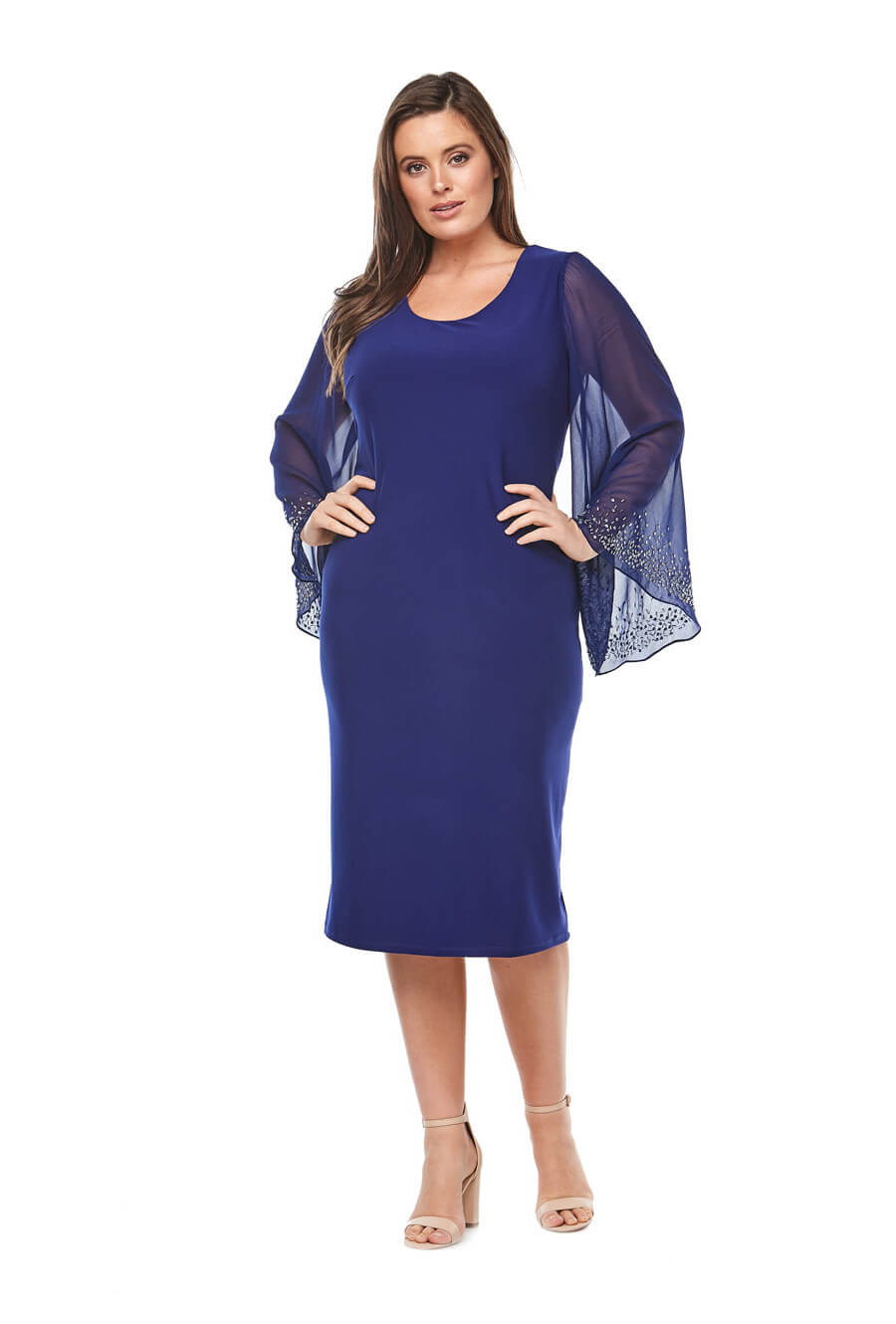 Mid length stretch jersey dress with chiffon bell sleeves and beaded detail
