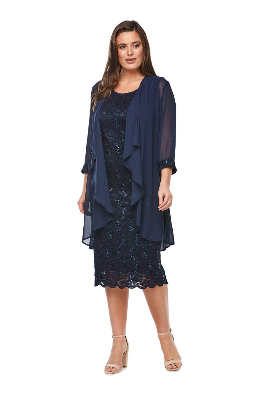 Sequin embroidered cocktail dress with scallop hem and 3/4 waterfall jacket