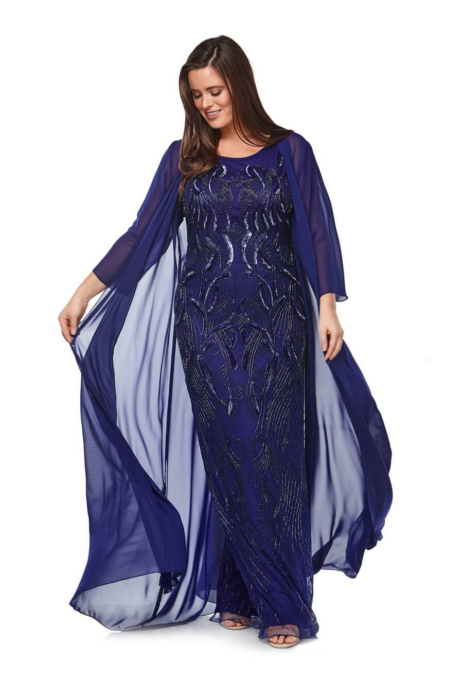 Long sleeveless stretch chiffon beaded gown with floor length chiffon jacket