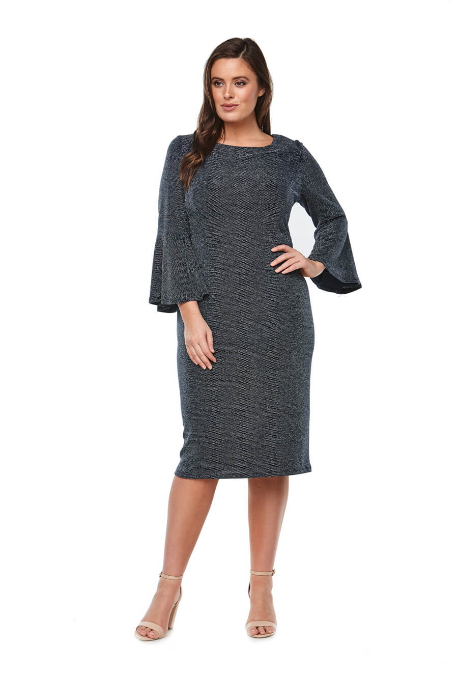 stretch jersey cocktaildress with bell sleeves