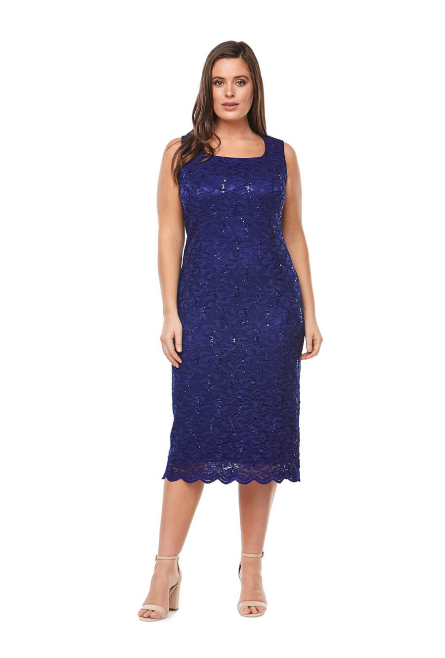 Mid length embroidered sequin dress with scallop hem & matching tailored jacket with 3/4 bell sleeves