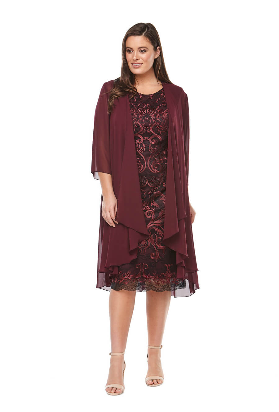 embroidered cocktaildress with 3/4 length waterfall chiffon jacket