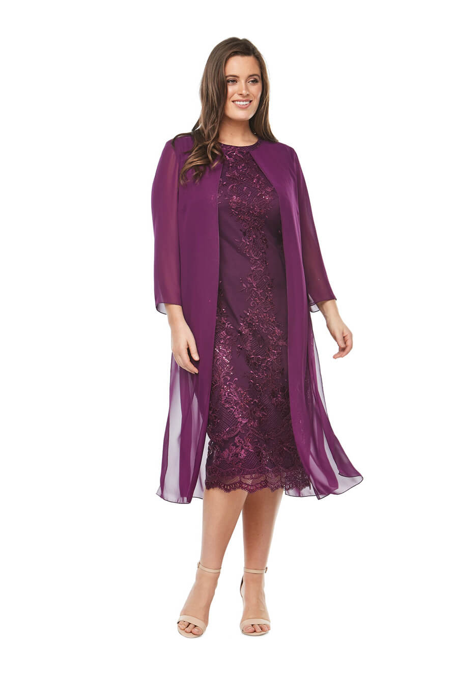 embroidered cocktaildress with 3/4 length chiffon jacket