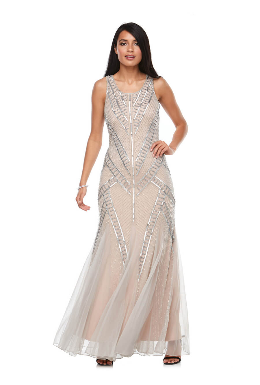 Sleeveless beaded chiffon gown with fishtail skirt