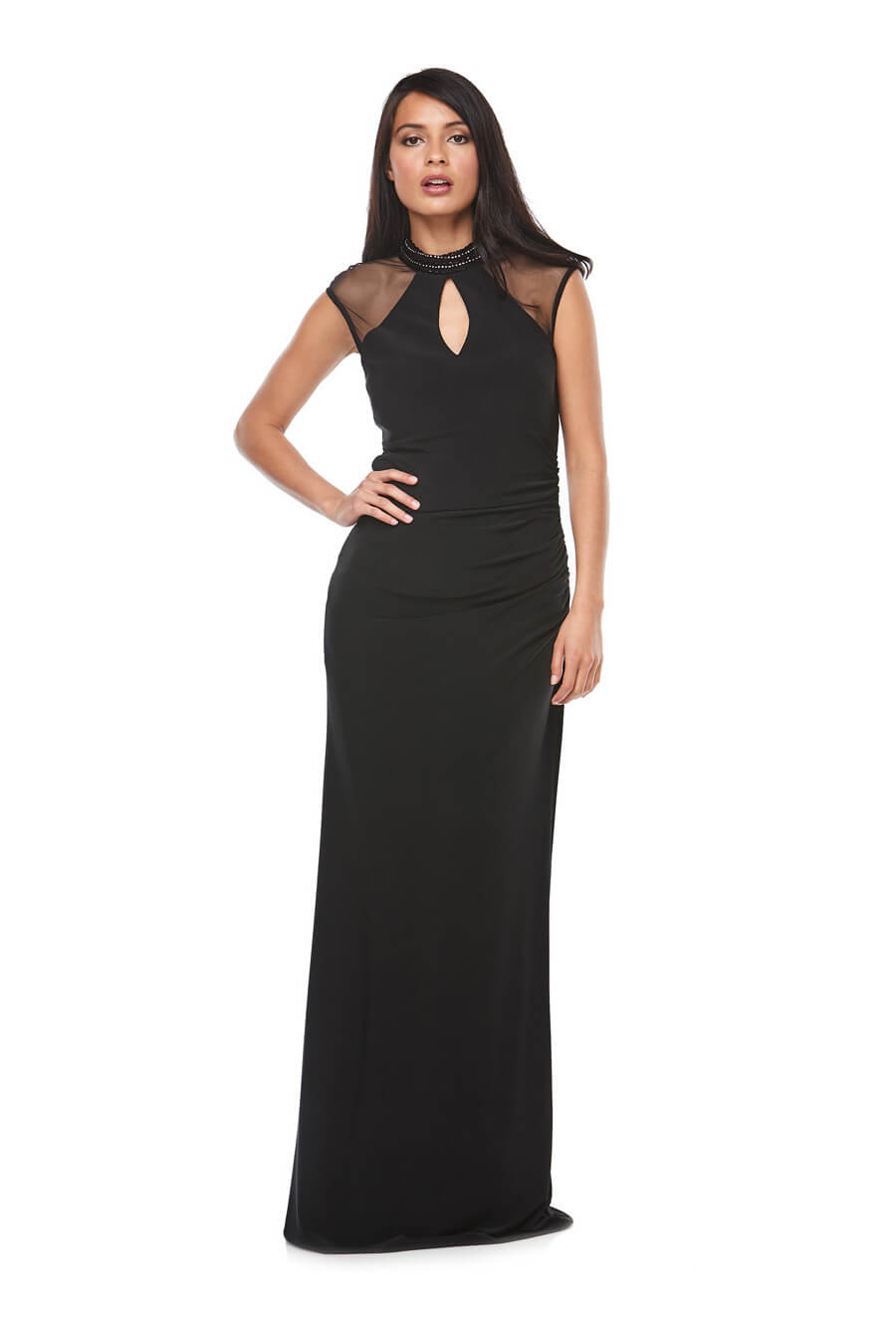 Long stretch jersey gown with sheer cap sleeves, keyhole detail & beaded neckline