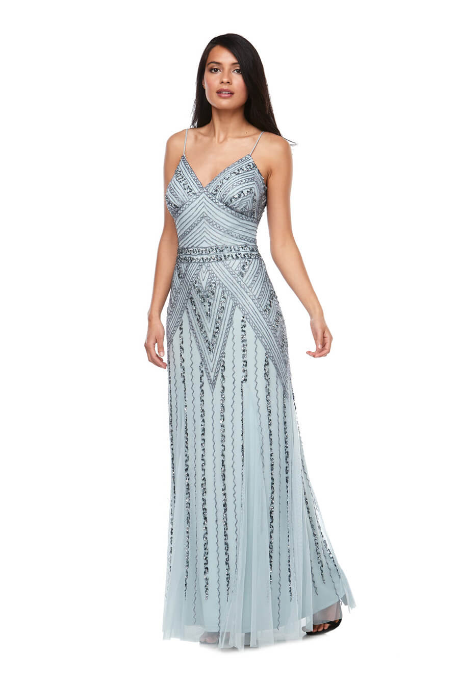 Long chiffon beaded gown with thin spaghetti straps & fishtail skirt