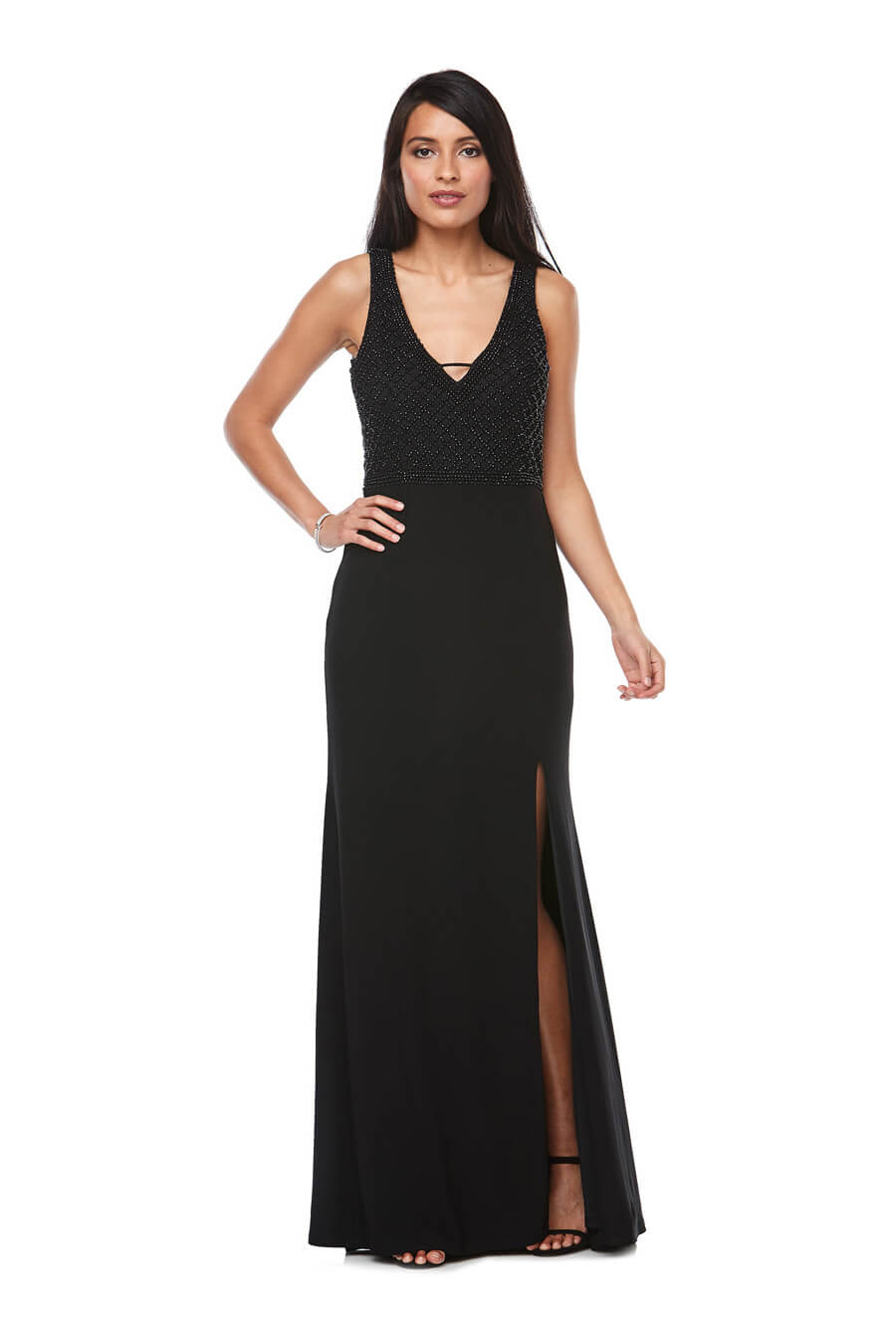 Long V neck side split stretch jersey gown with beaded bodice detail
