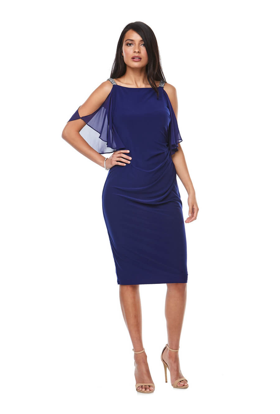 Stretch jersey cocktail dress with chiffon cold-shoulder sleeves & beaded trim