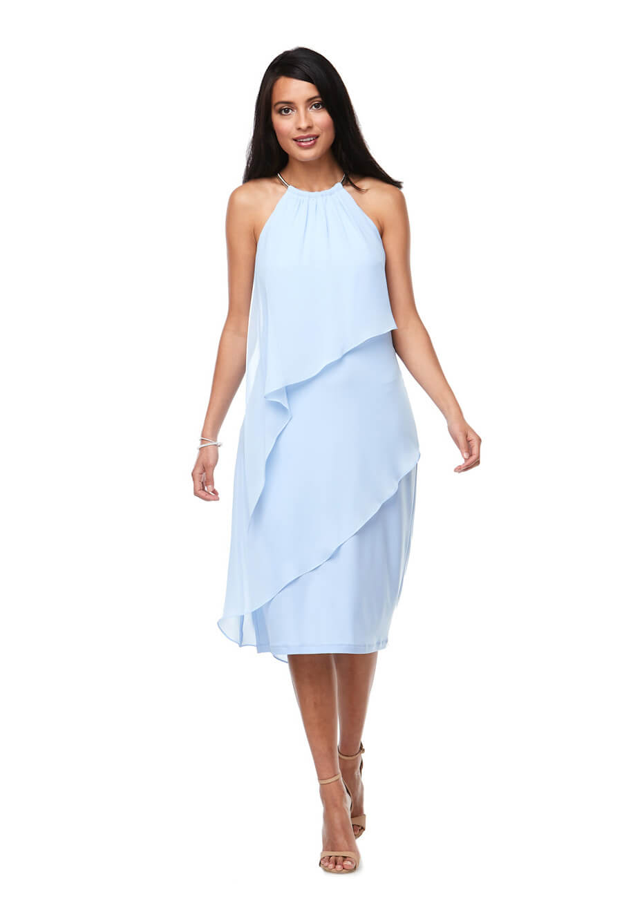 Layered chiffon halter cocktail dress with silver trim