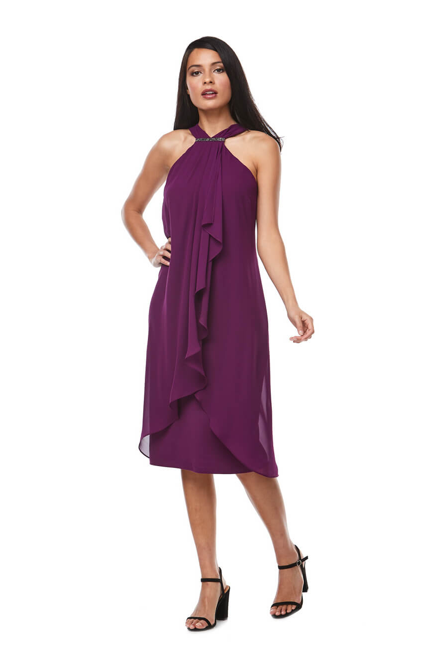 Chiffon Halter dress with waterfall front and beaded trim