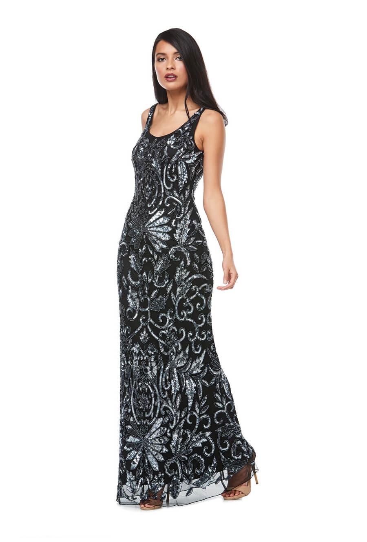 Sleeveless long beaded chiffon gown