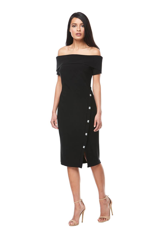 Cff the shoulder stretch jersey cocktail dress with diamanté button detail