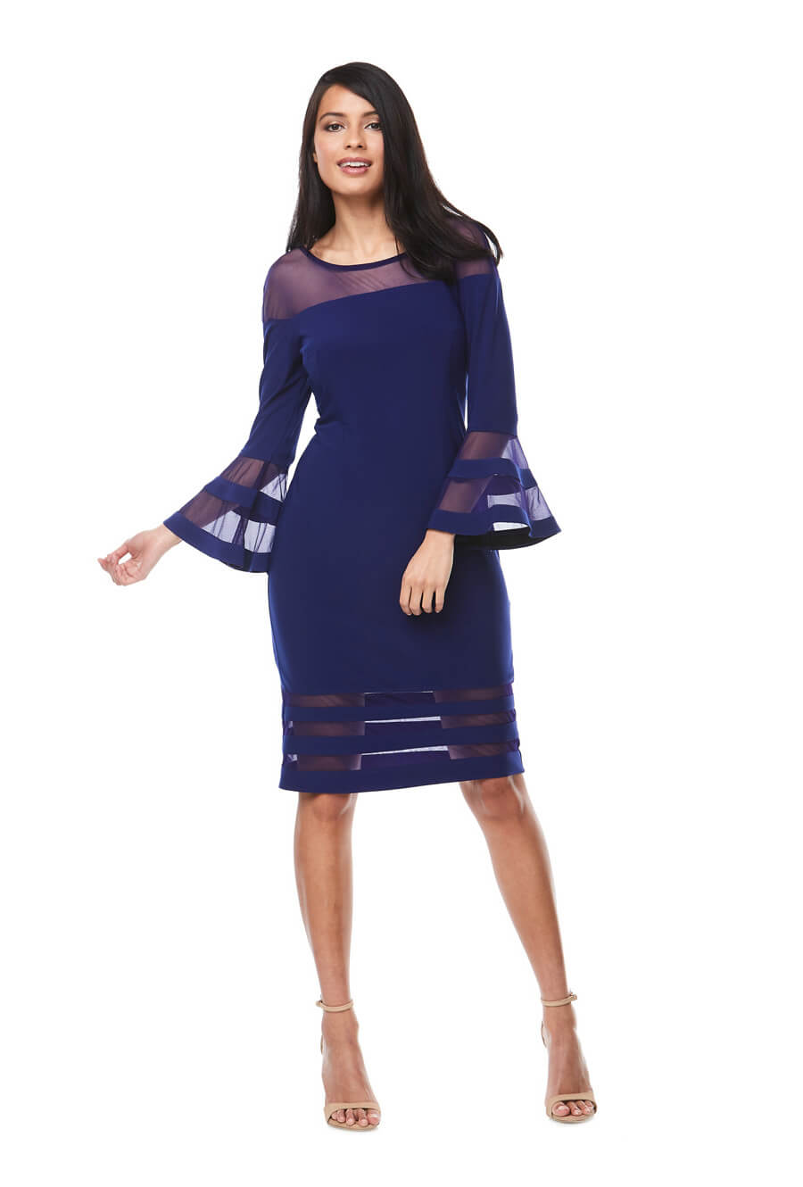 Short stretch jersey cocktail dress with long bell sleeves & sheer panel detail