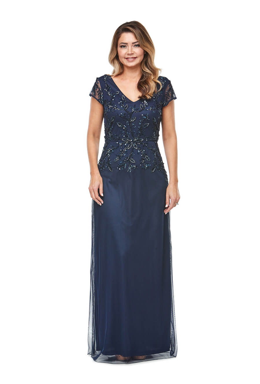 Long chiffon V neck gown with beaded bodice & cap sleeves