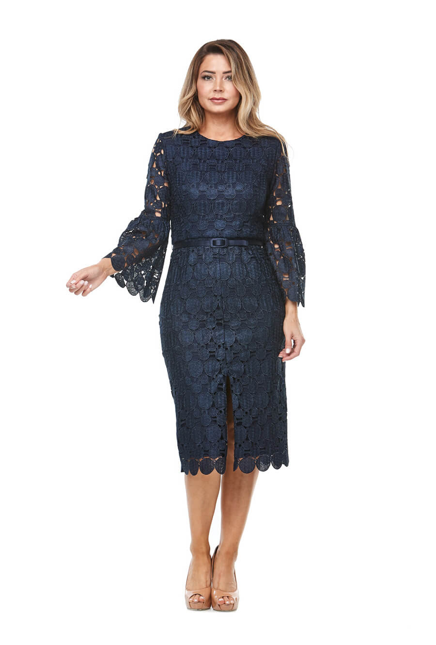 Mid length embroidered cocktaildress with long bell sleeves, center split & belt