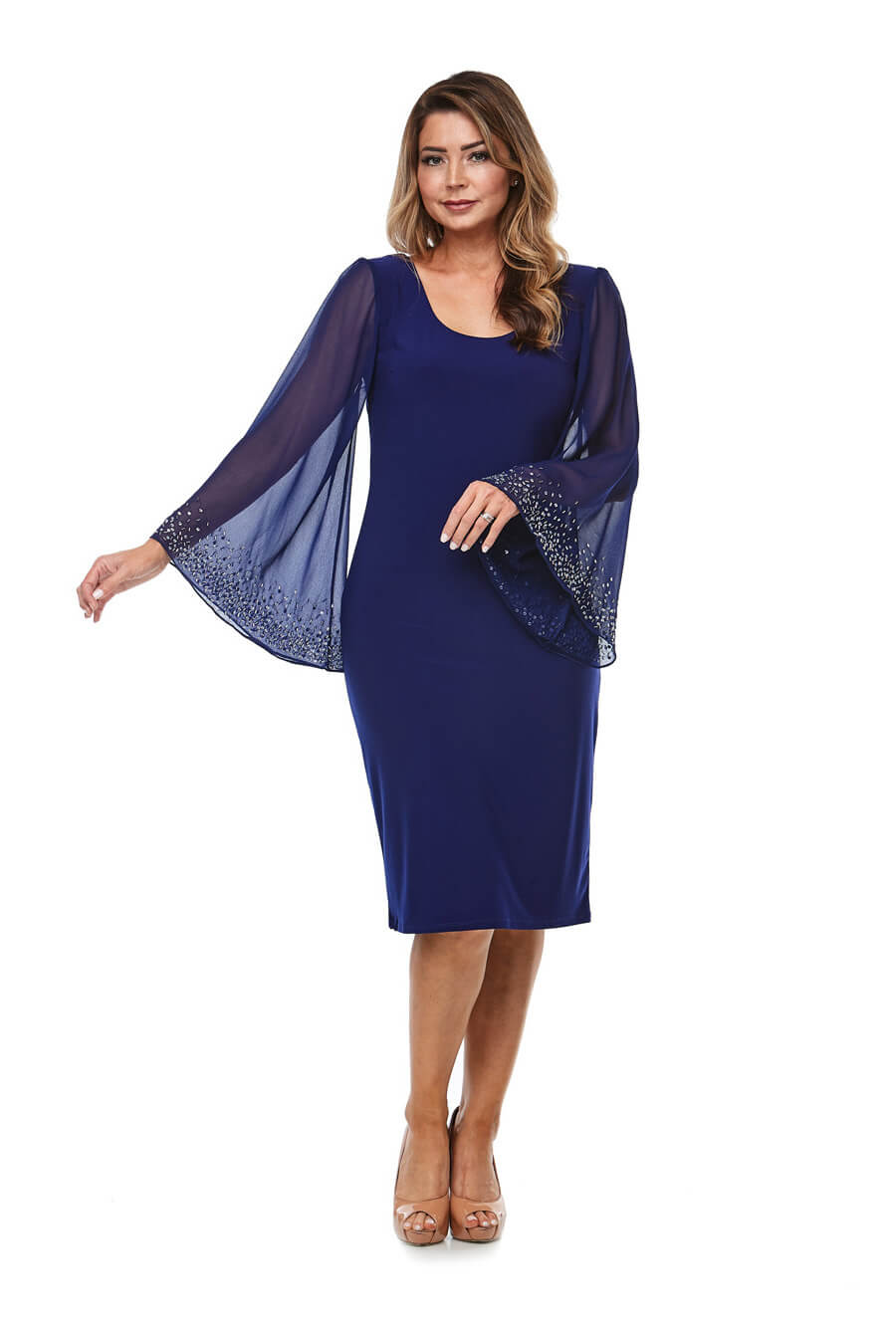 Stretch jersey dress with long angel sleeves & beaded cuff detail