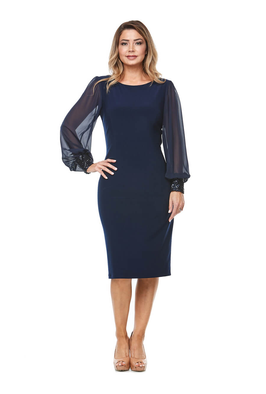 Stretch jersey cocktaildress with long sheer bishop sleeves & beaded cuff detail