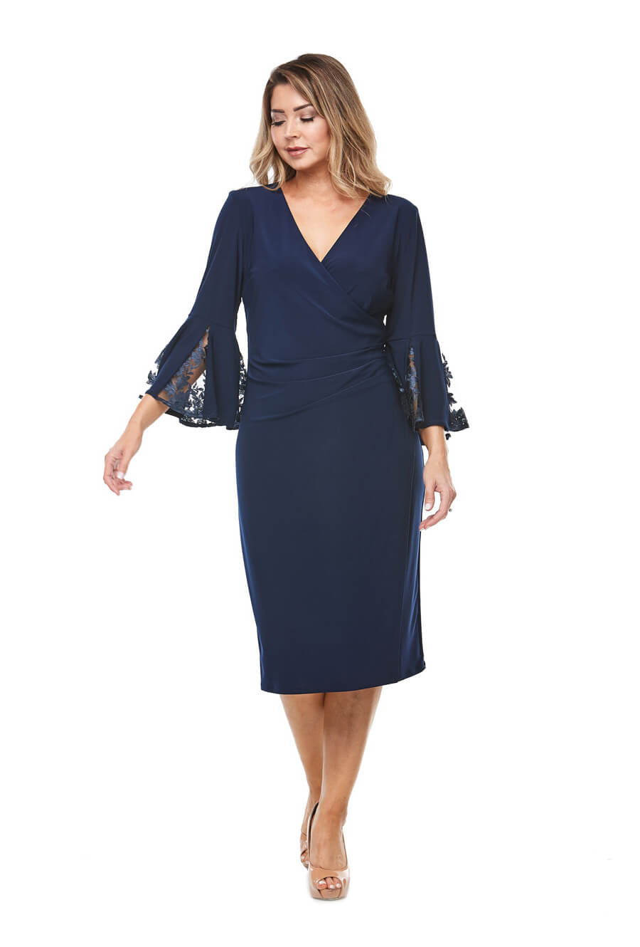 Stretch jersey wrap dress with bell sleeves & lace inserts