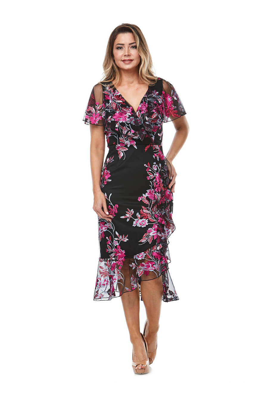 Cocktailwrap dress with angel sleeves & hot pink embroidery