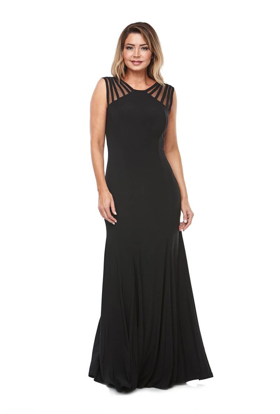 Long stretch jersey gown with waterfall skirt & sheer detail at neckline
