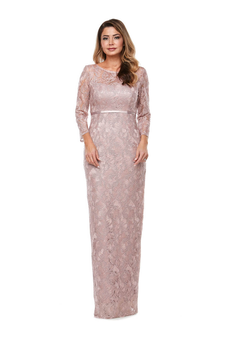 Full length long sleeve embroidered gown with satin trim