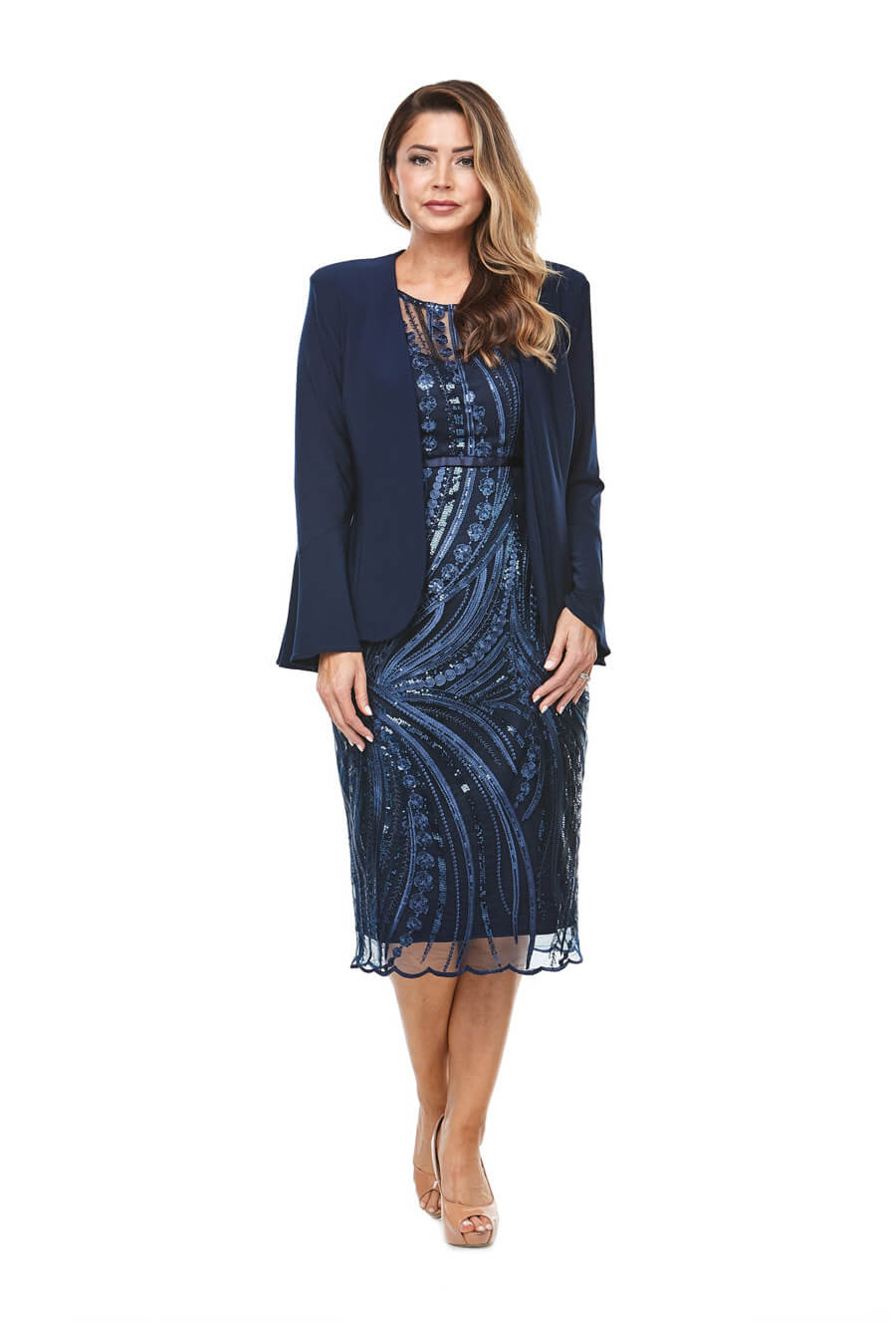 Embroidered sequin cocktail dress with sweetheart neckline, cap sleeve & tailored bell sleeve jacket