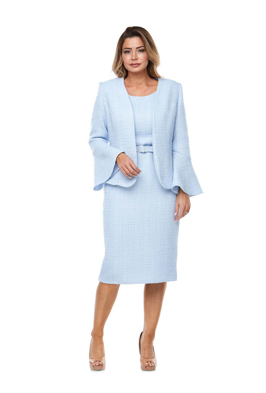 Mid length shift dress with cap sleeve, matching belt & tailored bell sleeve jacket