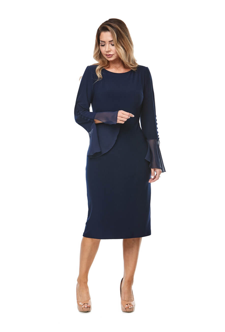 Stretch jersey cocktaildress with long bell sleeves & button detail