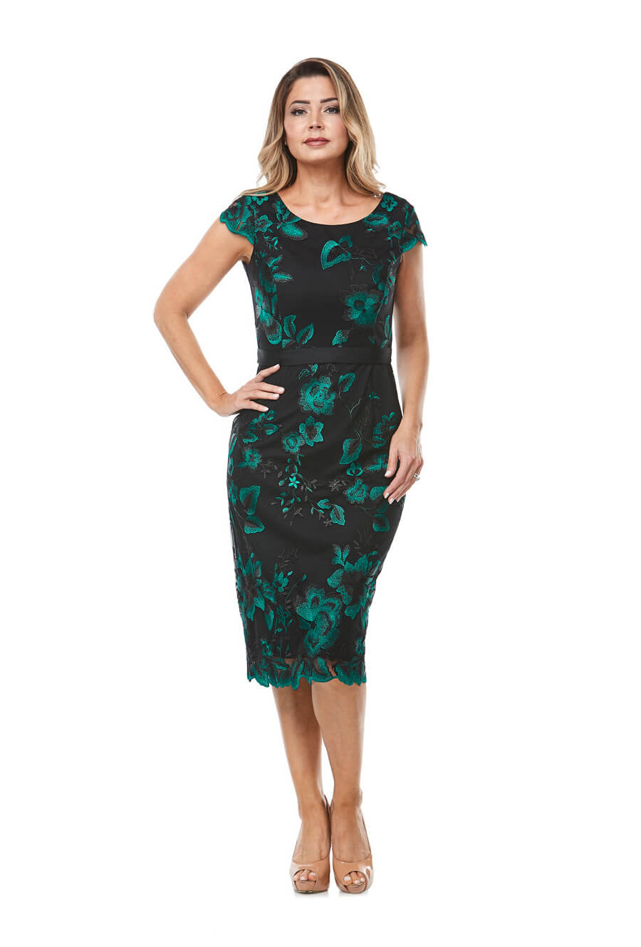 Mid length cocktail dress with cap sleeve, dark green embroidery & satin trim