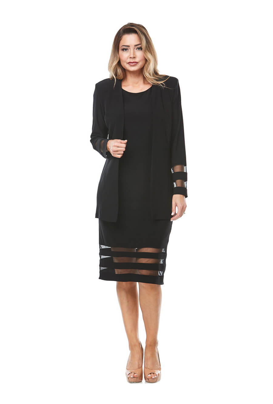 Stretch jersey cocktail dress with sheer panel detail & matching tailored jacket
