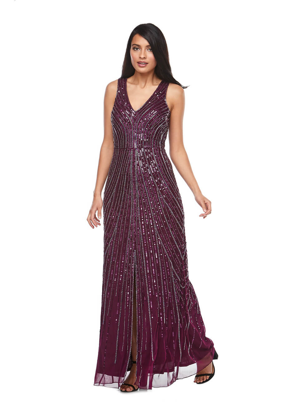 Long beaded chiffon dress with v neck and front split