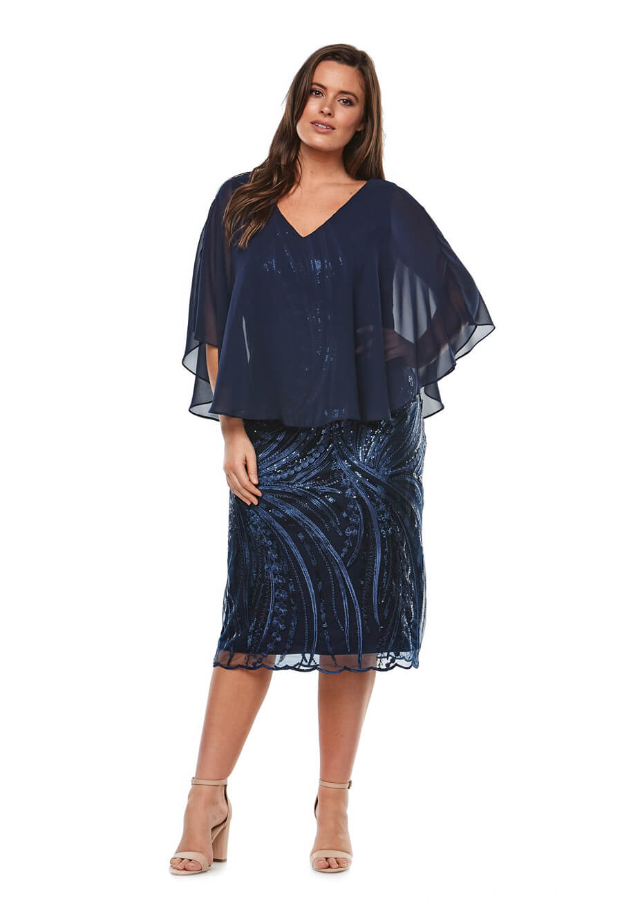 Mid Length V neck embroided dress with chiffon overlay