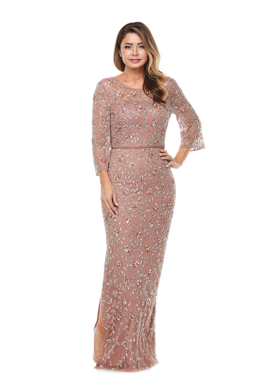 Long chiffon beaded dress with 3/4 sleeves