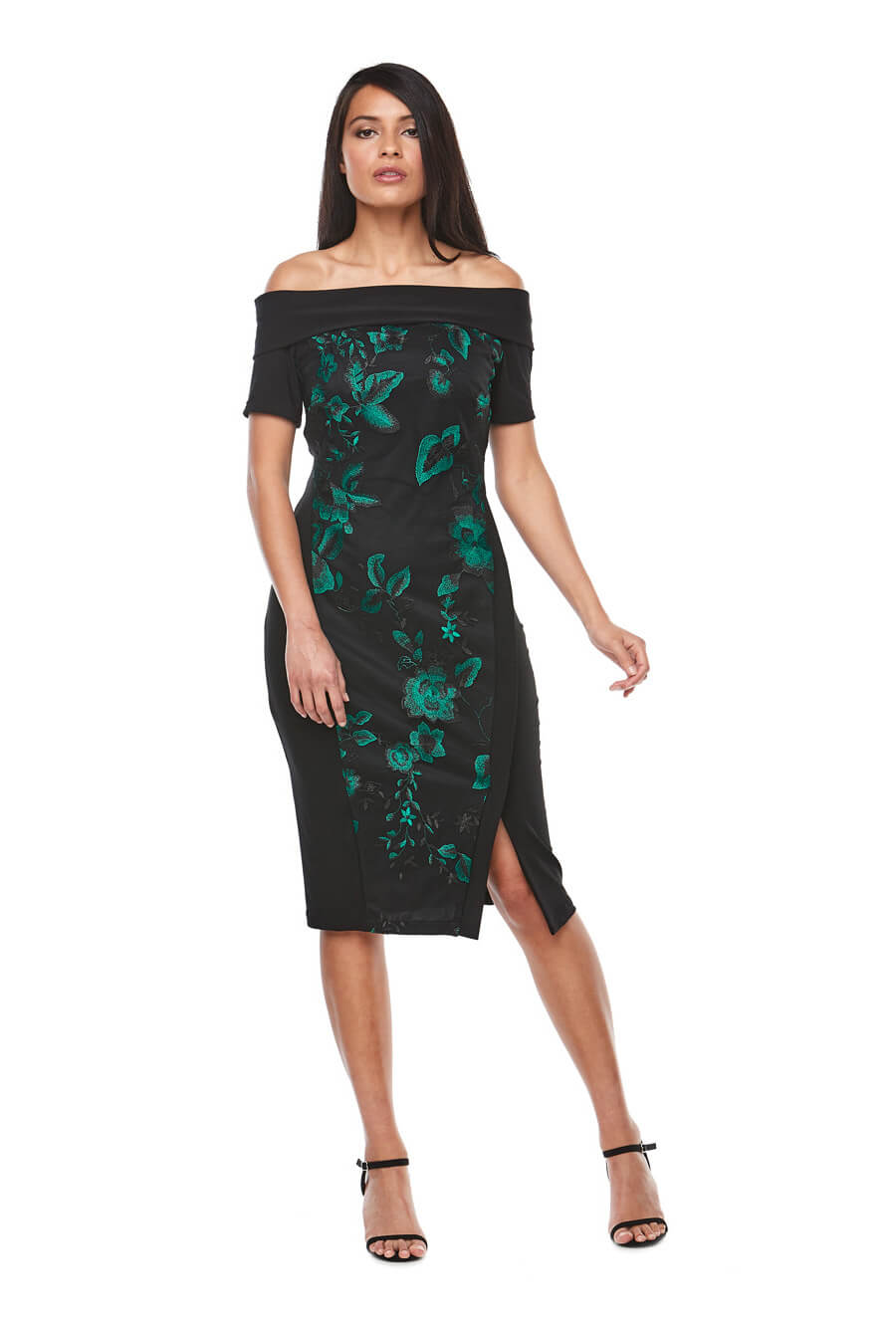 Mid length off the shoulder dress with side split and dark green embroidery