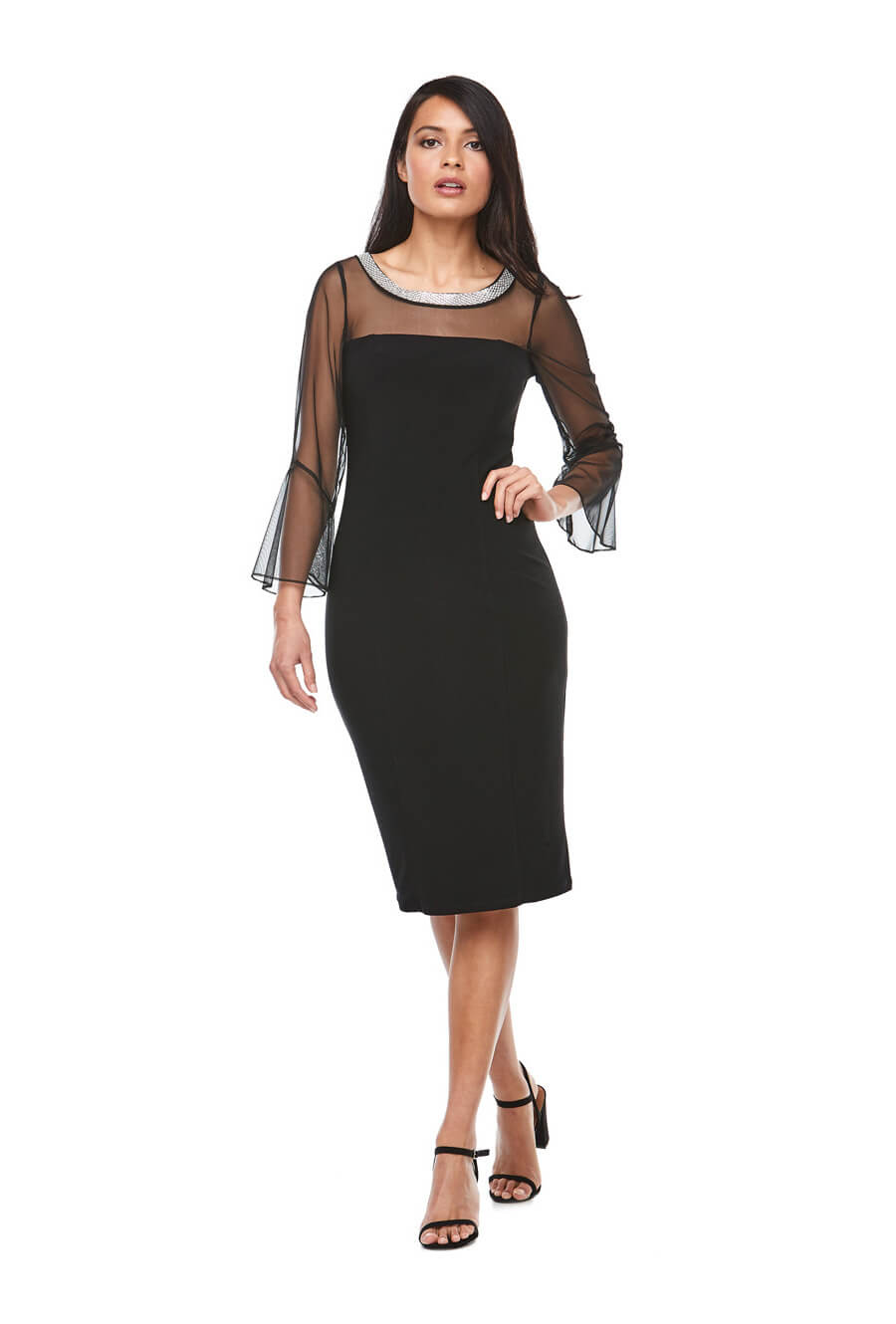 Mid length stretch jersey dress with sheer bell sleeves and beaded neckline