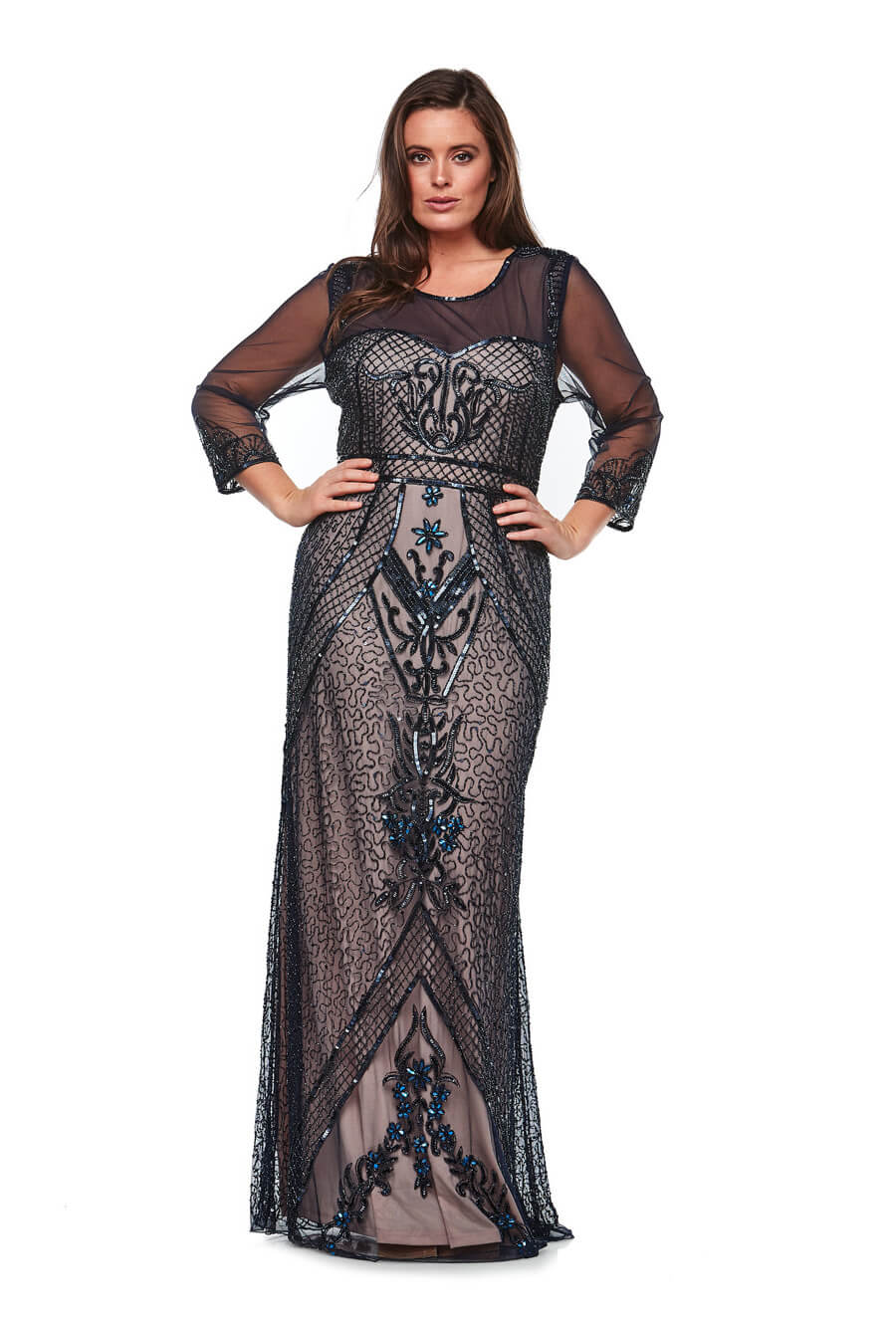 Long beaded dress with sweetheart neckline and sheer 3/4 sleeves