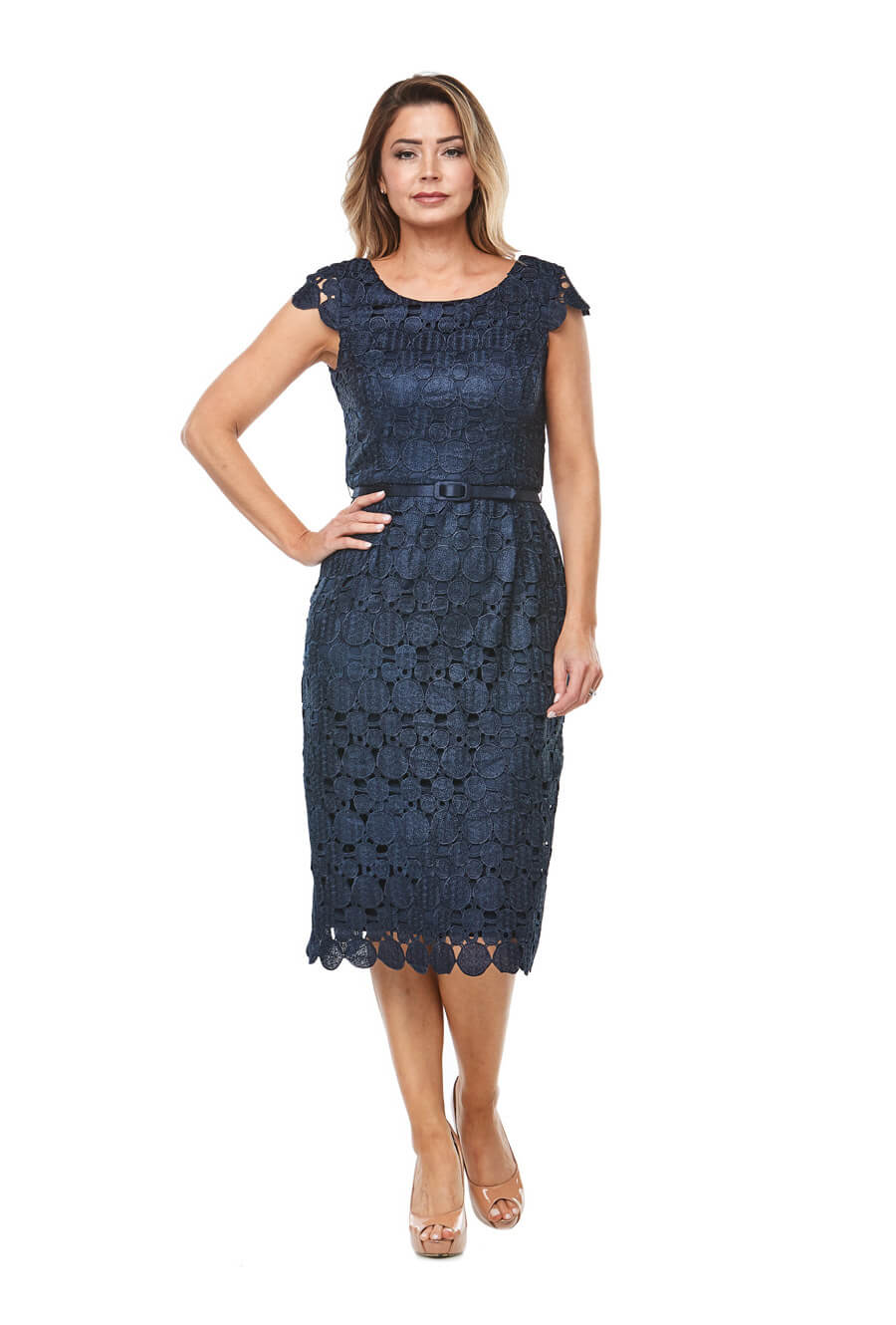 Mid length embroidered dress with cap sleeve, ornamental trim hem and matching belt